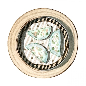 Gnocchi di dim sum, gamberetti ed erba cipollina asiatici dell'alimento dell'acquerello, vista superiore