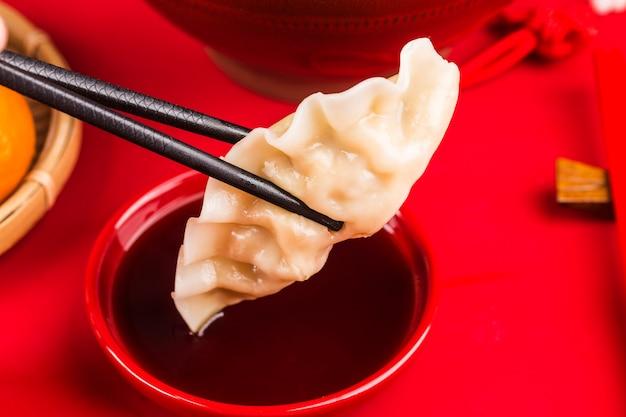 Gnocchi per il festival di primavera cinese cinese grande benedizione fortunata