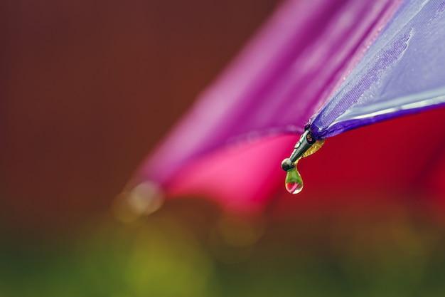 Gocce d'acqua scendono dall'ombrello. avvicinamento