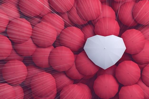 Gocce di pioggia che cadono dall'alto del cielo sull'ombrello a forma di cuore,