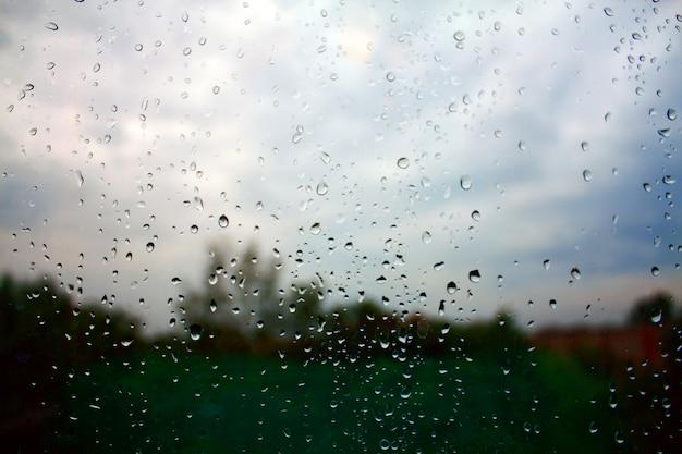 Gocce di pioggia su vetro con sfondo sfocato giardino