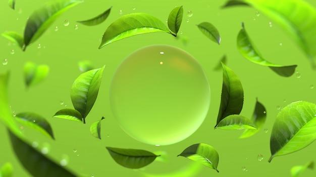Goccia d'acqua con foglie di tè verde