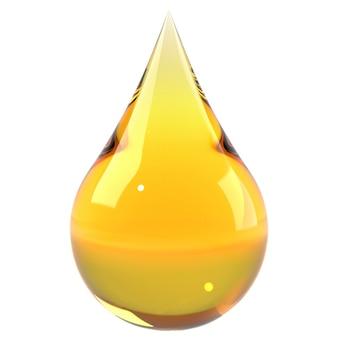 Goccia dell'olio isolata su fondo bianco