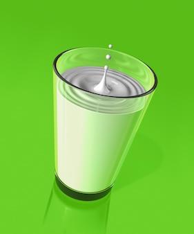 Goccia di latte che spruzza e fa incresparsi in un bicchiere. illustrazione 3d