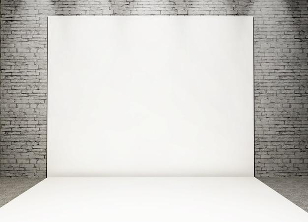 Goccia posteriore della foto bianca 3d in un interno del mattone di lerciume