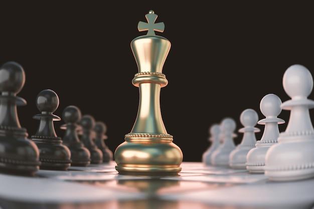 Golden king chess piece concept per la concorrenza e la strategia aziendale.