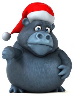 Gorilla divertente 3d con un cappello di natale che mostra i pollici giù
