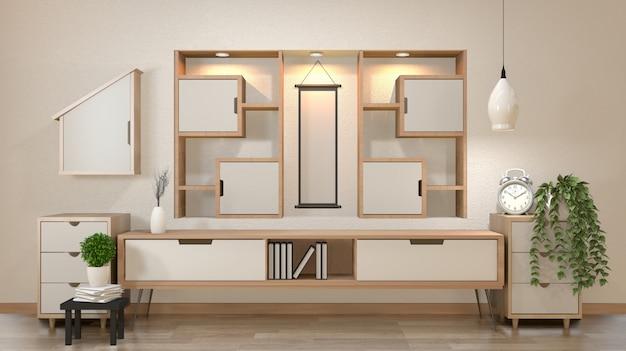 Governo e decorazione nella stanza vuota di zen moderno, parete di mensola minima di disegni, rappresentazione 3d