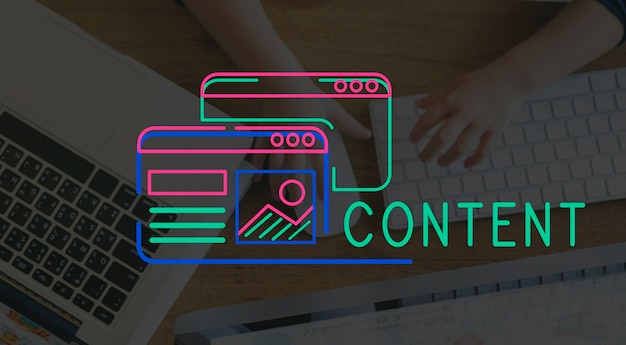 Grafica di layout del contenuto di design del sito web