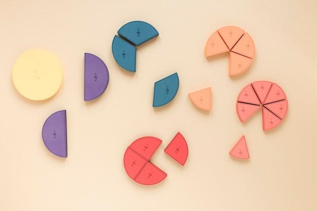 Grafici a torta statistici colorati per le frazioni scientifiche