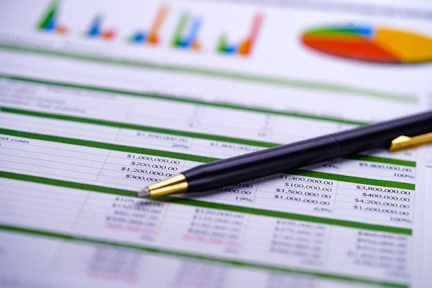 Grafici foglio di calcolo fogli di carta con penna.