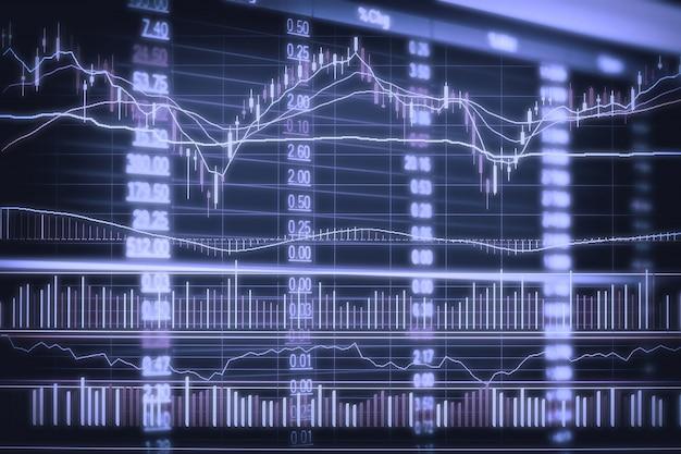 Grafico astratto candeliere finanziario con grafico a linee e numeri di borsa
