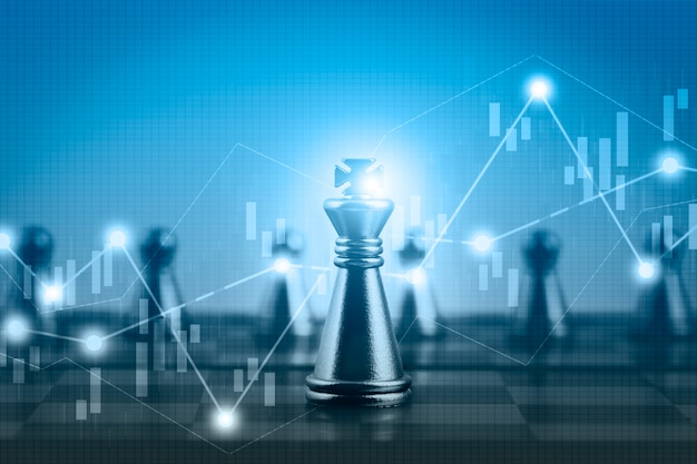 Grafico azionario del mercato finanziario di doppia esposizione con la concorrenza del gioco della scacchiera