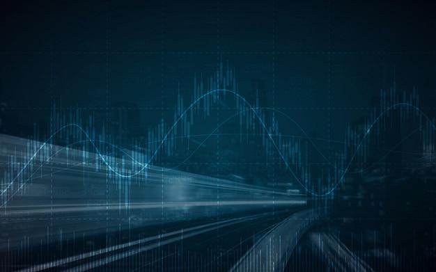 Grafico azionario finanziario astratto con strada e paesaggio urbano
