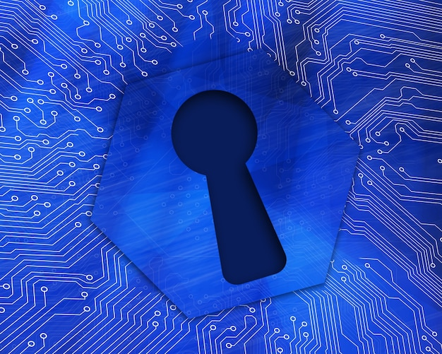 Grafico buco della serratura su sfondo blu