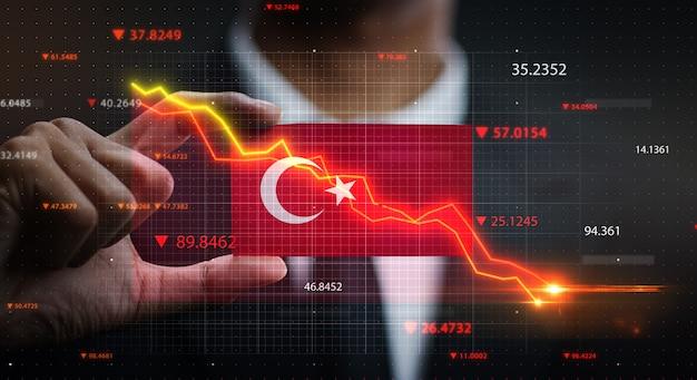 Grafico che cade davanti alla bandiera della turchia. concetto di crisi