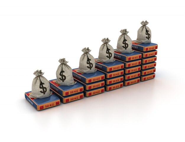 Grafico del sacchetto di cemento con sacco di soldi