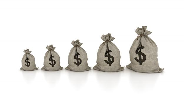 Grafico delle borse dei soldi del dollaro