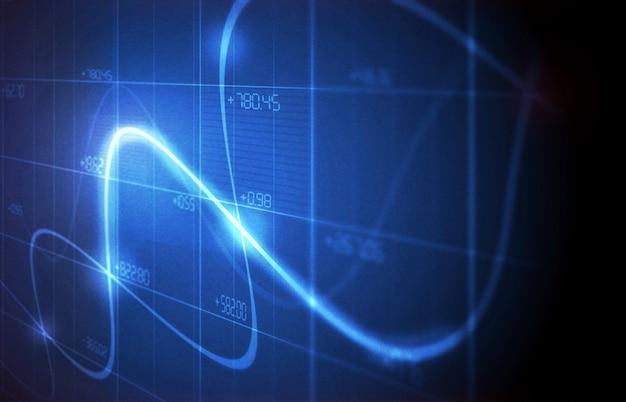 Grafico di linea di sfondo grafico e grafici finanziari sullo schermo
