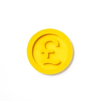 Grafico dorato della moneta di libbra britannica