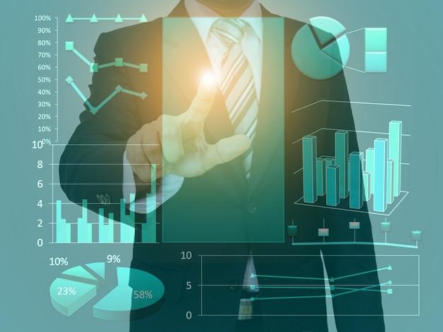 Grafico e tecnologia dello spazio di concetto del touch screen dell'uomo d'affari