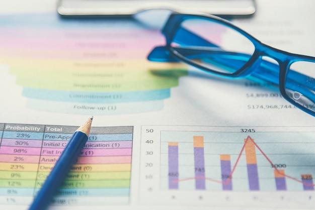 Grafico excel foglio di calcolo documento che mostra informazioni finanziarie con articoli di cartoleria