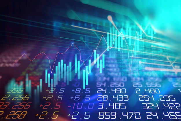 Grafico finanziario tecnico su priorità bassa astratta di tecnologia