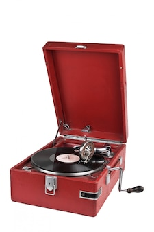 Grammofono vintage isolato su sfondo bianco