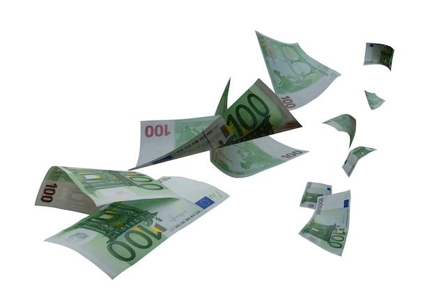 Gran numero di banconote da 100 euro in volo che cadono in aria.