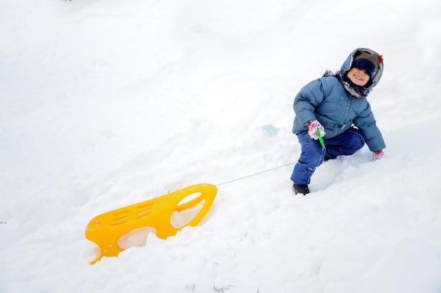Grande attività su neve, bambini e felicità