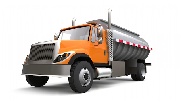 Grande autocisterna arancione del camion con un rimorchio del metallo lucidato. viste da tutti i lati