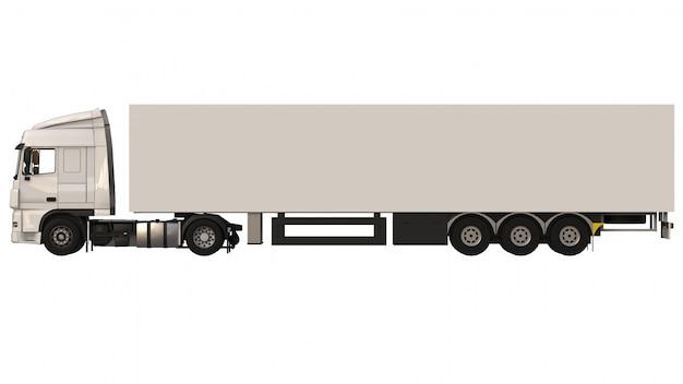 Grande camion bianco con un semirimorchio. modello per posizionare la grafica. rendering 3d.