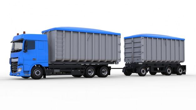 Grande camion blu con rimorchio separato, per il trasporto di materiali e prodotti agricoli e edili sfusi. rendering 3d.