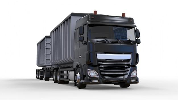Grande camion nero con rimorchio separato, per il trasporto di materiali e prodotti agricoli alla rinfusa. rendering 3d.