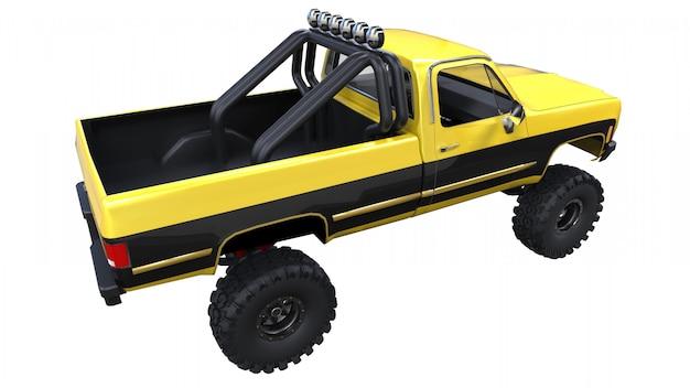 Grande camioncino fuoristrada. allenamento completo. sospensione altamente rialzata. enormi ruote con punte per rocce e fango. illustrazione 3d