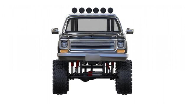 Grande camioncino fuoristrada. allenamento completo. sospensione altamente rialzata. enormi ruote con punte per rocce e fango. rendering 3d.