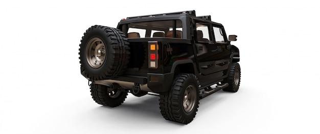 Grande camioncino nero fuoristrada per campagne o spedizioni
