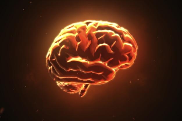 Grande cervello forte che pulsa in arancione