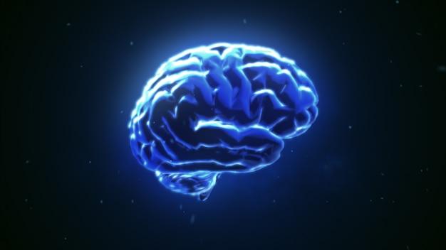 Grande cervello forte che pulsa in blu