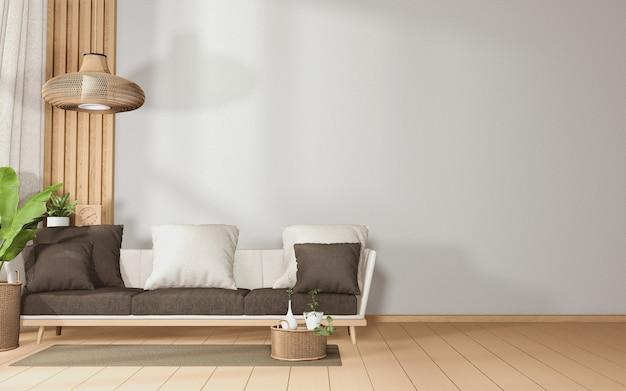 Grande divano in una camera spaziosa interiore tropicale con divano e decorazioni di piante sul pavimento in legno. rendering 3d