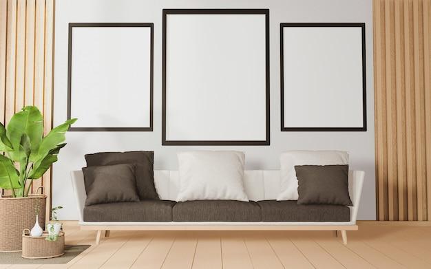 Grande divano in una stanza in stile tropicale e decorazioni di piante sul pavimento in legno. rendering 3d