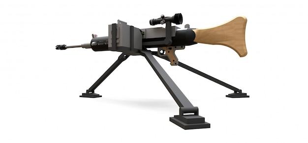 Grande mitragliatrice su un treppiede con munizioni a cassetta piena su uno sfondo bianco. illustrazione 3d.