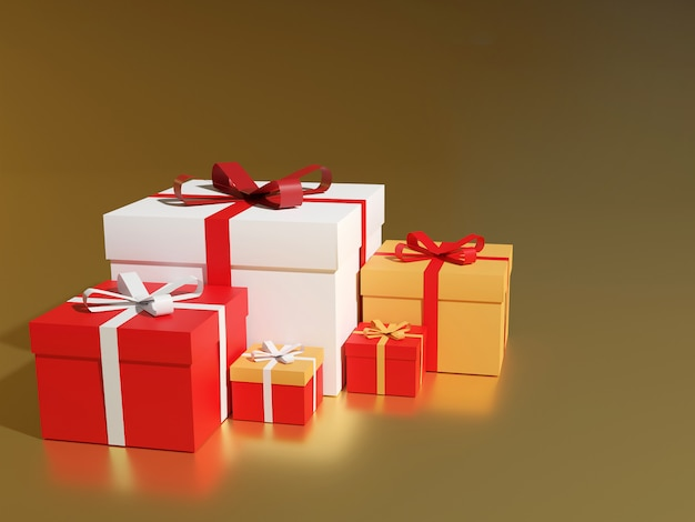 Grande mucchio di scatole regalo incartato colorato. molti regali, rendering 3d.