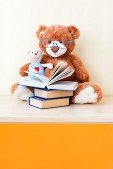 Grande orso giocattolo leggendo un libro per orsacchiotto giocattolo piccolo