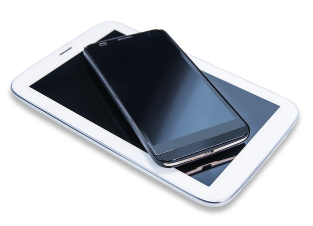 Grande schermo del telefono su bianco