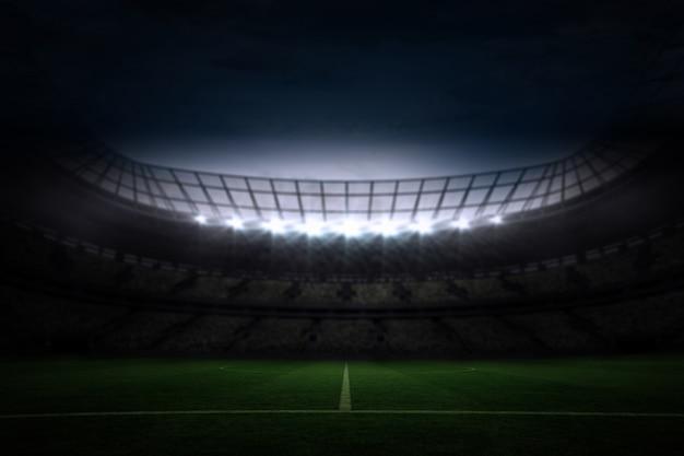 Grande stadio di calcio sotto il cielo notturno