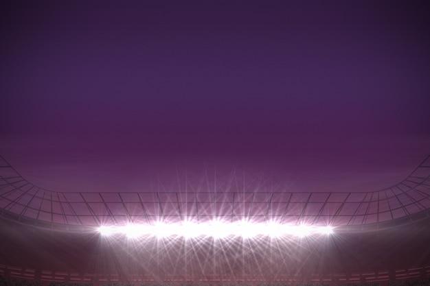 Grande stadio di calcio sotto il cielo viola