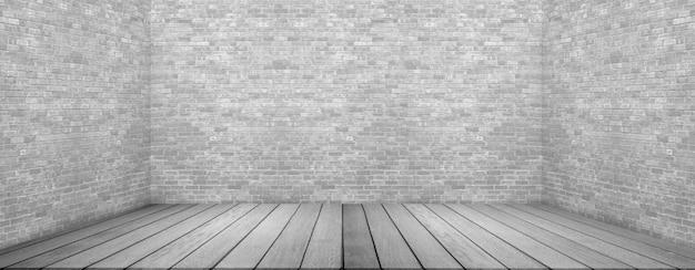 Grande stanza vuota in stile grange con pavimento in legno