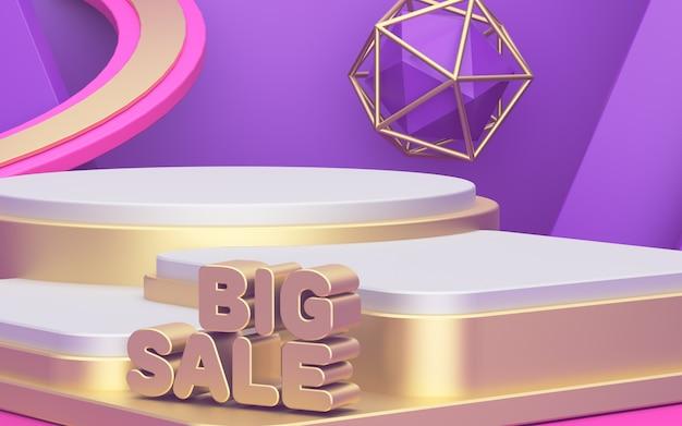 Grande vendita. vetrina per la visualizzazione di tre prodotti. bellissimo sfondo astratto. manifesto pubblicitario, podio d'oro. rendering 3d