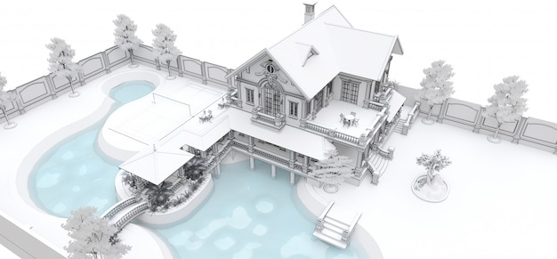 Grande villa in stile asiatico con giardino, piscina e campo da tennis. l'edificio e il territorio in linee di contorno con ombre sparse morbide. rendering 3d.